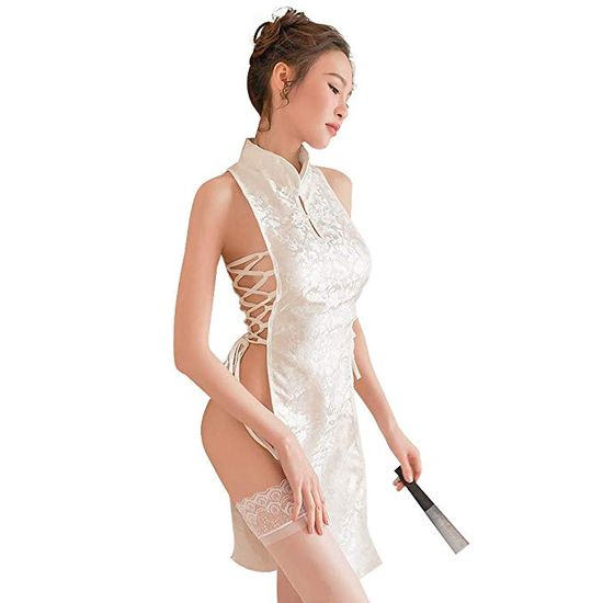 YOMORIO Sexy Chinese Cheongsam Dress Anime Cosplay Lingerie for Women Traditional Qipao Babydoll