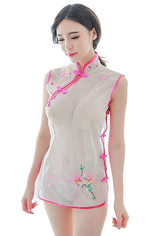 Lucky2Buy Women's Floral Embroidery Cheongsam Lingerie Badydoll Chemise Costume Set with T-Pack