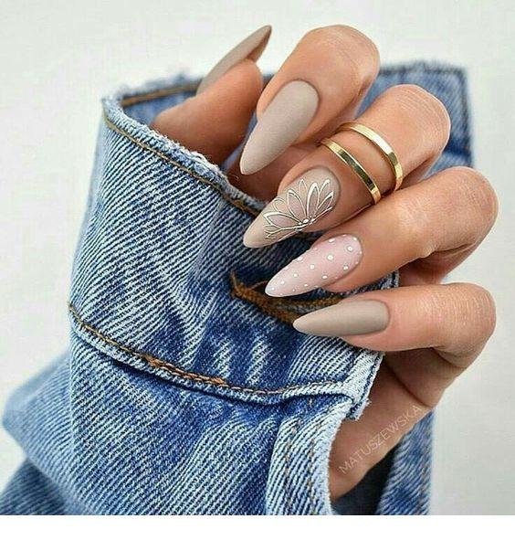 Wonderful grey stiletto nails