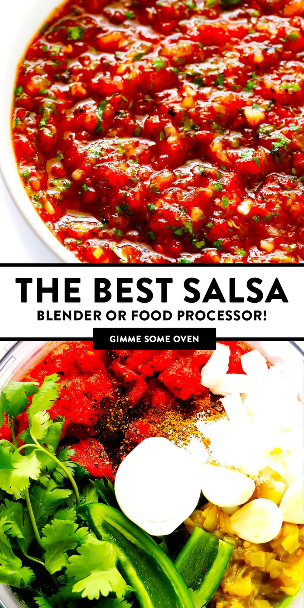 My all-time favorite homemade salsa recipe!! It's quick and easy to make in a food processor or blender, it's easy to make spicy or mild, and it is SO flavorful and delicious! | Gimme Some Oven #salsa #appetizer #dip #mexican #glutenfree #vegetarian #vegan #sauce #tomato