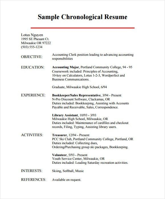 Examples Of Chronological Resumes Chronological Resume Template - example of a chronological resume