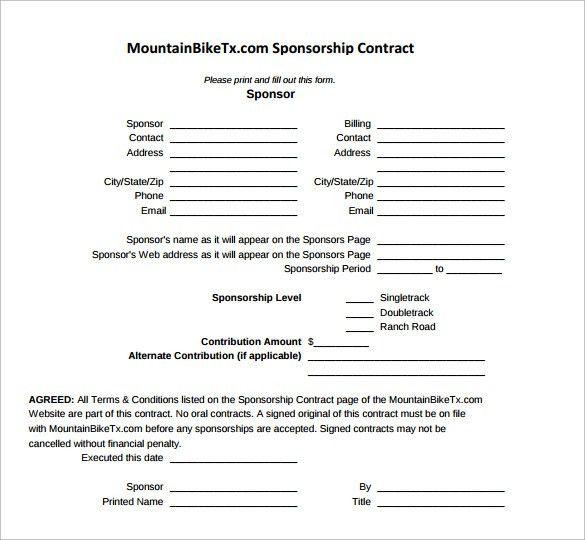 Generic Sponsorship Form Sponsorship Invoice Template Word - sponsorship contract template
