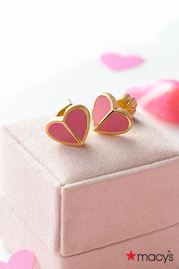 Two of hearts.This Valentine's Day, give them the gift of elegant jewelry they can keep for years to come. These pink, heart stud earrings by Kate Spade New York are baubles of fun. | From loved ones to your best galentines, find the gift you'll love to give as much as they'll love to get at macys.com
