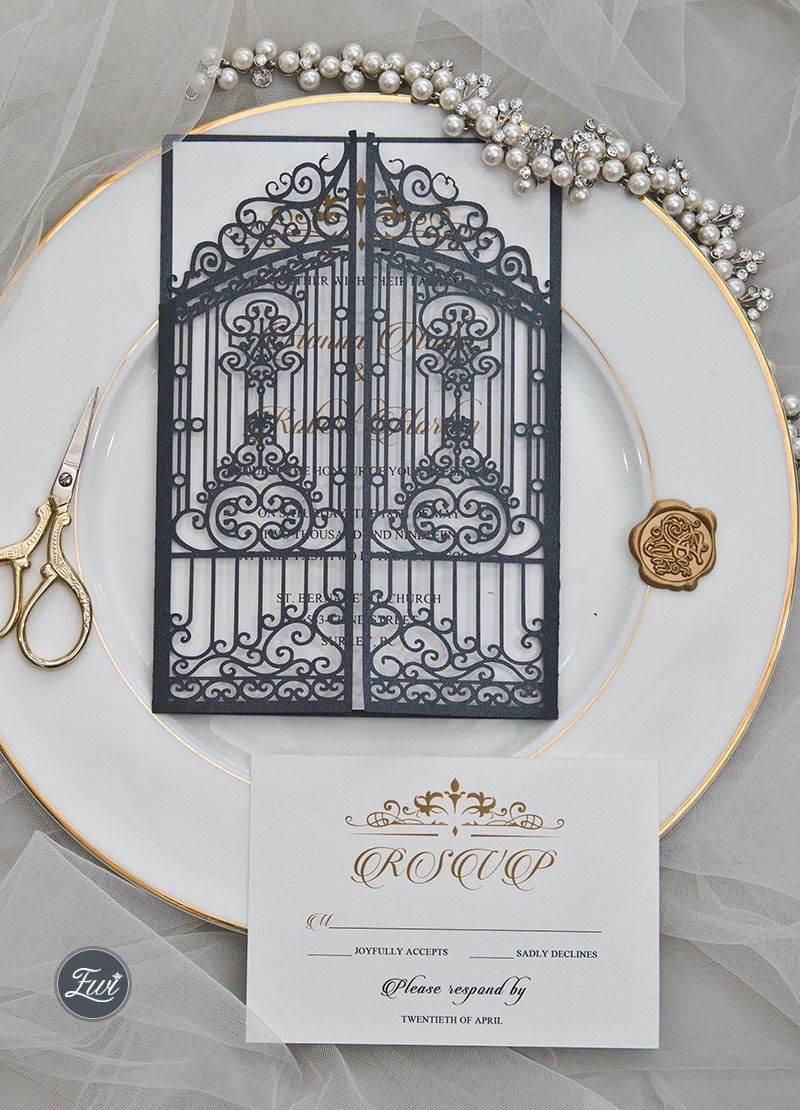 #EWI vintage slate grey intricate laser cut gate-folded wedding invitation EWWS207