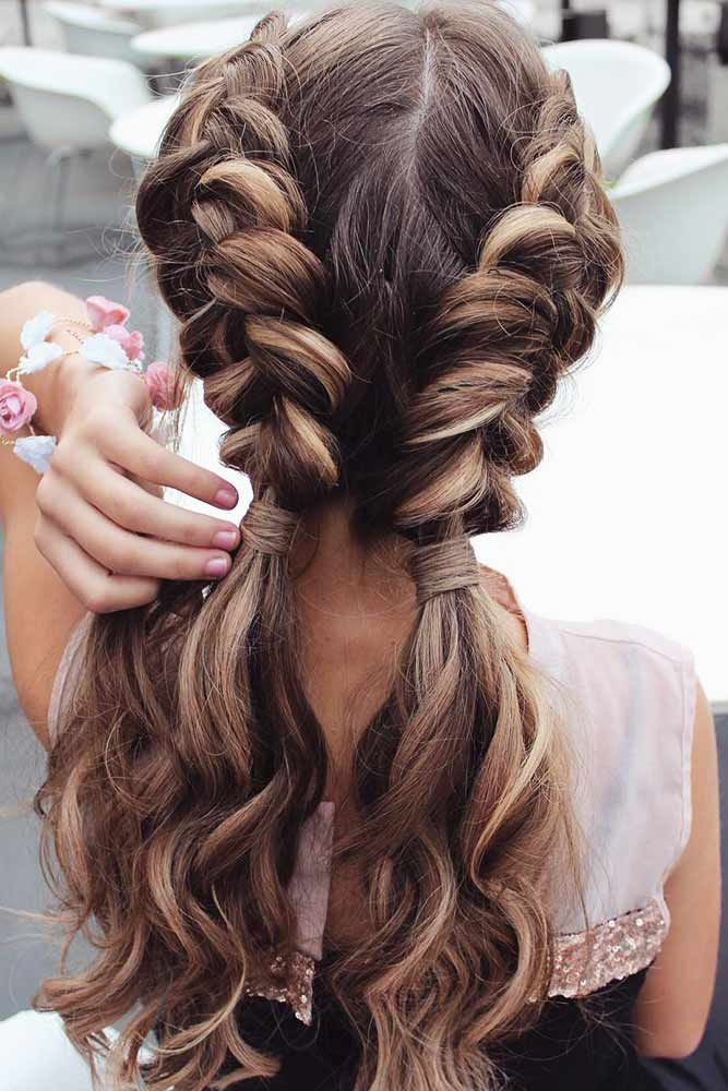 Two Braided Low Ponytails #braidedhairstyles #longhairstyles ★ Discover trendy easy summer hairstyles 2019 here. We have pretty ideas for long, short, and for medium hair. #glaminati #lifestyle #summerhairstyles