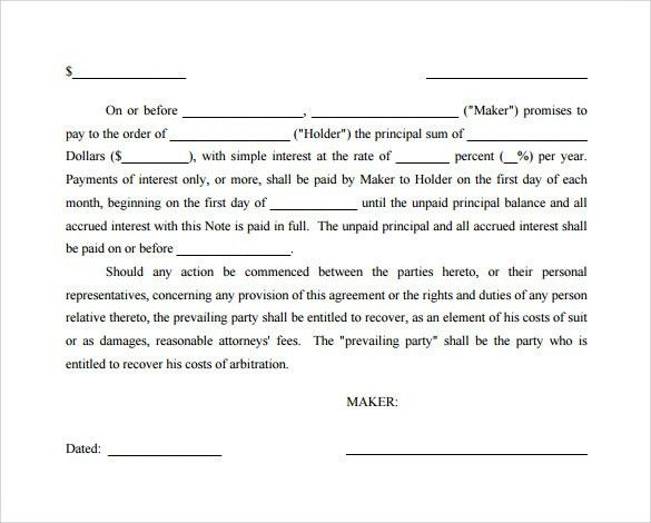 Promissory Note Template Free Download promissory note template – Simple Promissory Note Sample