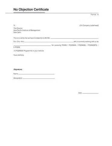Non Objection Certificate For Job Ms Word No Objection - no objection format