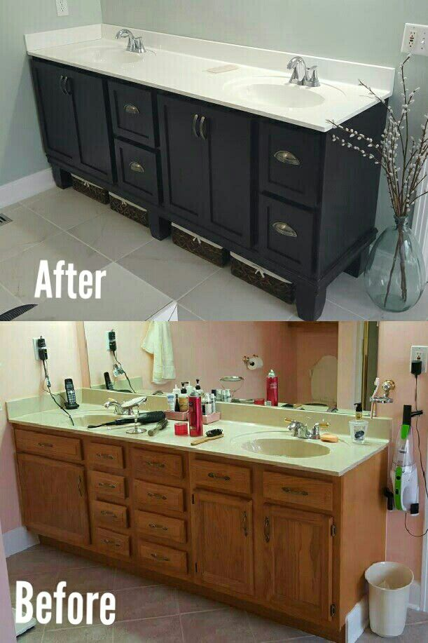 Gel Stain Builders Grade Bathroom Vanity Makeover Reconfigured The 3 Stock Oak C Diy Bathroom Vanity Makeover Bathroom Vanity Makeover Oak Bathroom Vanity