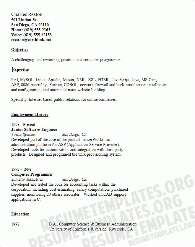 computer programmer resume examples