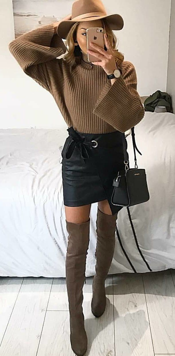 brown thigh-high boots #spring #outfits