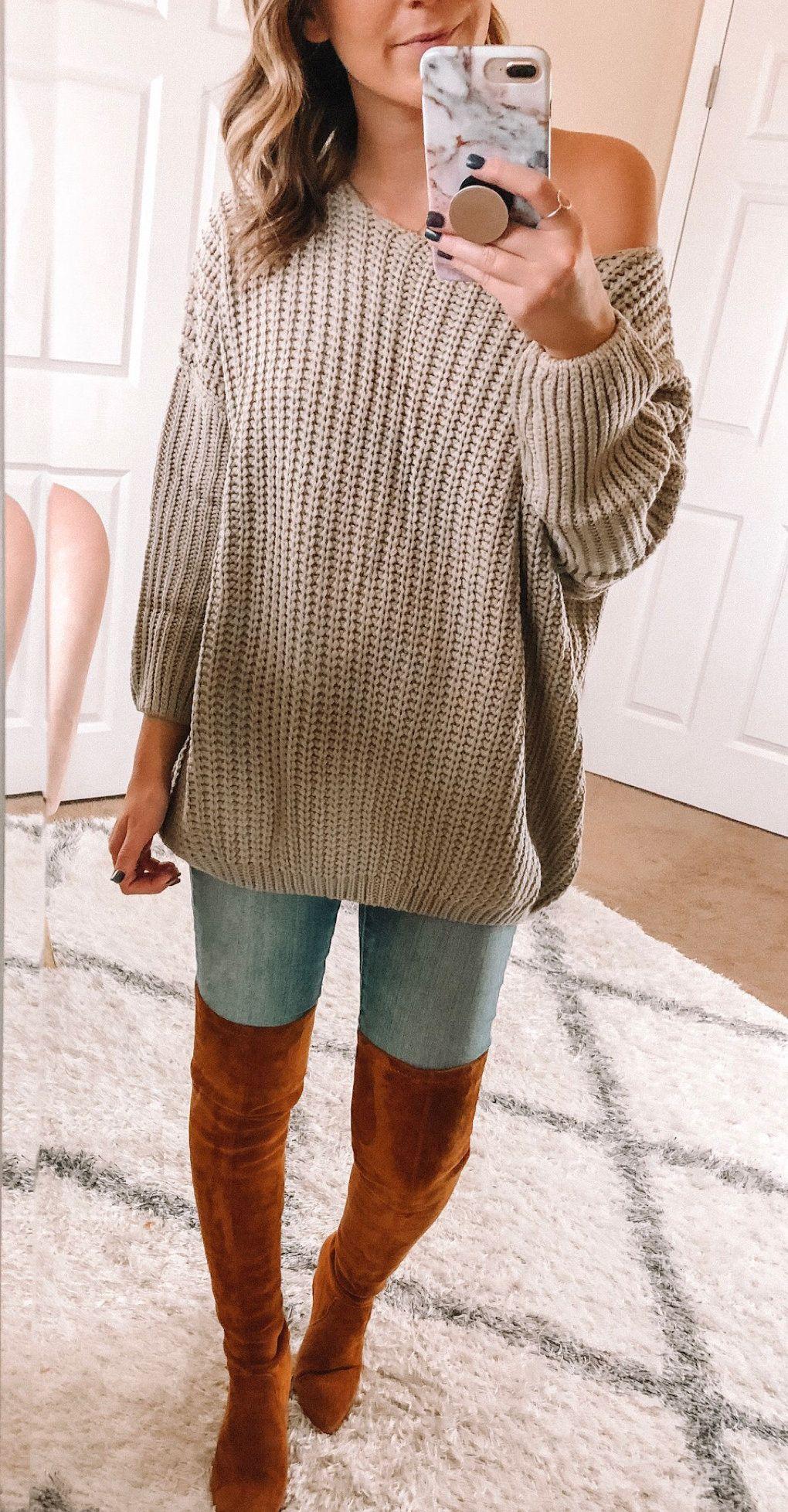 gray crochet sweater