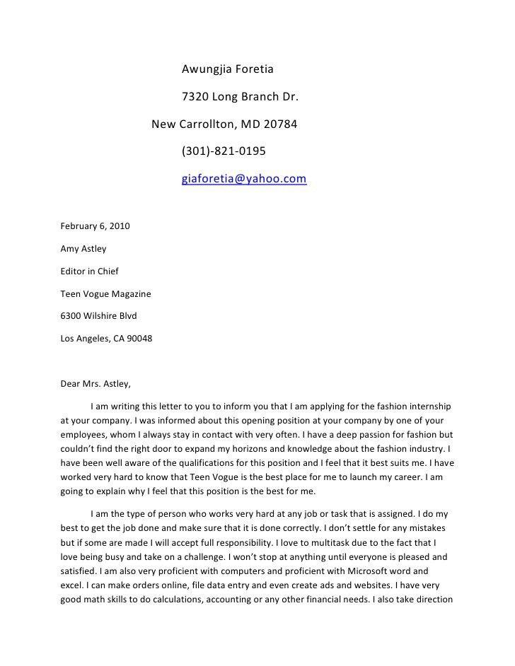 Cover Letter Internship Cover Letter For Internship Sample - blank cover letter
