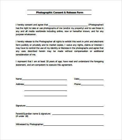 Release Form Template Media Release Form Template 8 Free Sample - sample print release form example