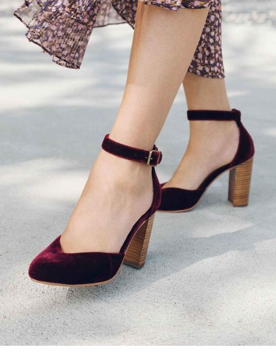 Glam burgundy velvet shoes
