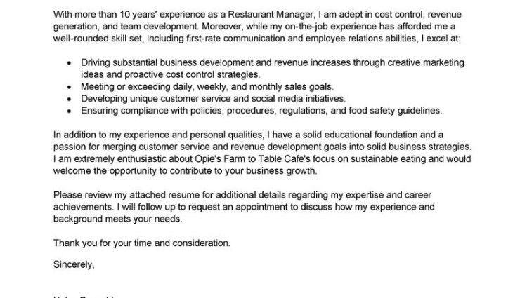 cover letter for restaurant manager