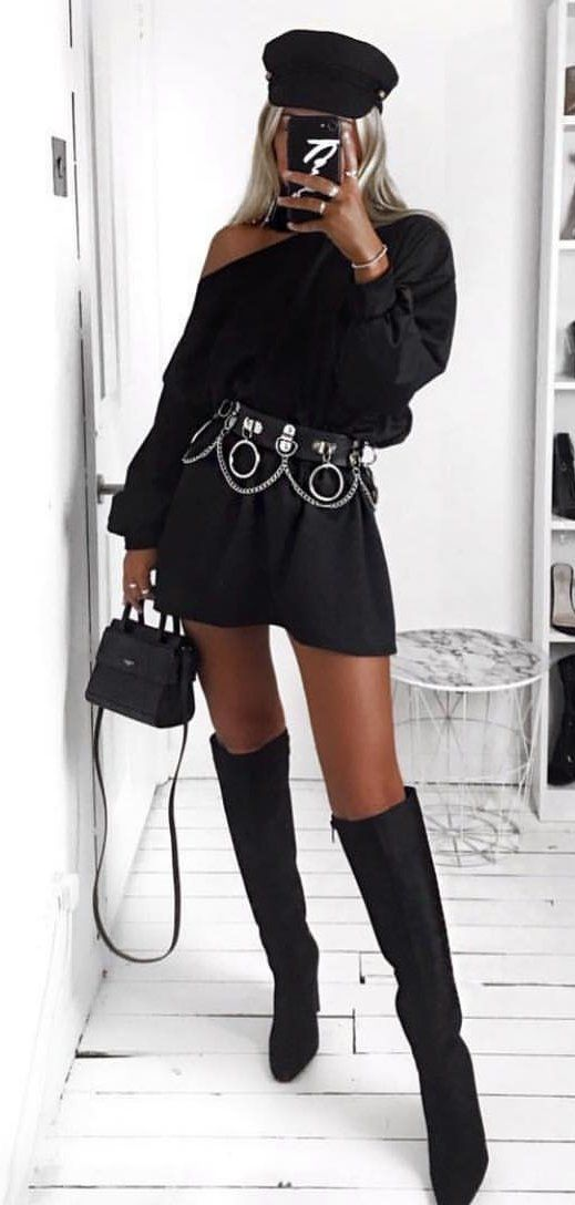 black off-shoulder top, black mini skirt, and pair of black boots outfit #spring #outfits