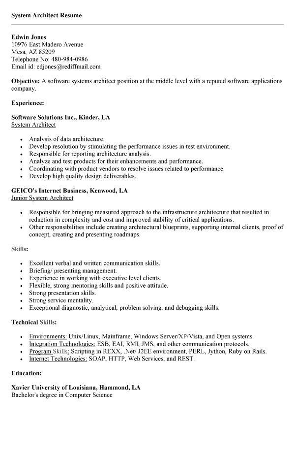 Cover Letter System Architect Position | Cover Letter