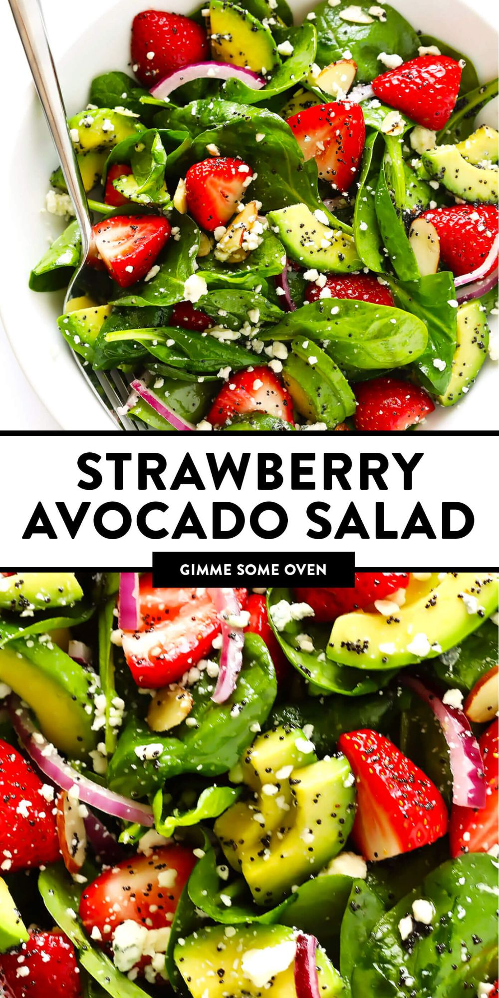 This Strawberry Avocado Spinach Salad recipe is made with juicy strawberries, tender spinach (or your choice of salad greens), red onion, toasted almonds, blue cheese (or feta or goat cheese) and a quick poppyseed dressing. It's easy to make, naturally gluten-free and vegetarian, and so delicious! | gimmesomeoven.com #salad #strawberry #avocado #dressing #vinaigrette #summer #healthy #glutenfree