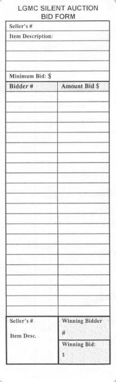 printable bid sheet