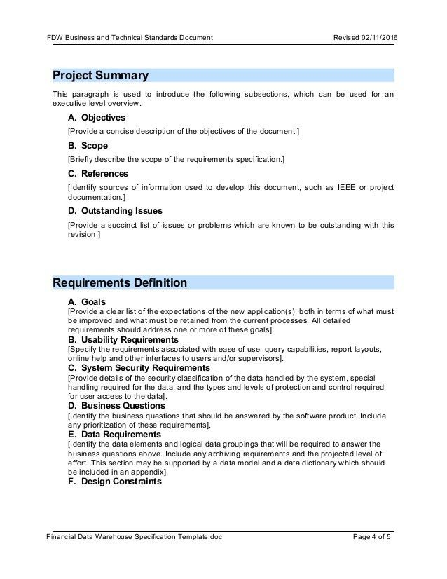 Summary Document Template 7 Project Summary Templates Free Word - business requirements document template