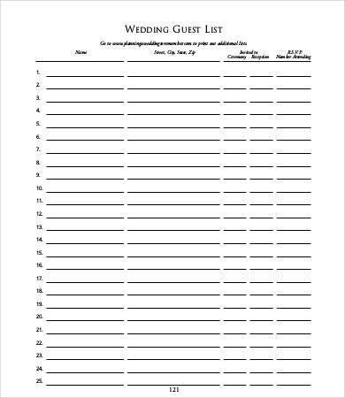 Guest List Template Guest List Templates 9 Free Word Pdf - guest list sample