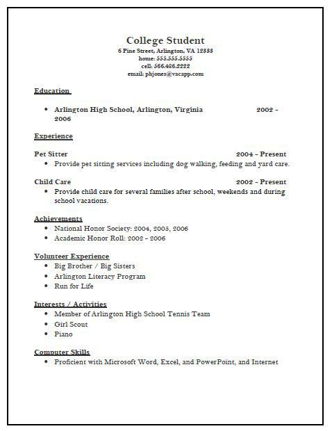 Resume For College Application Template Sample Resume College - high school resume template for college application