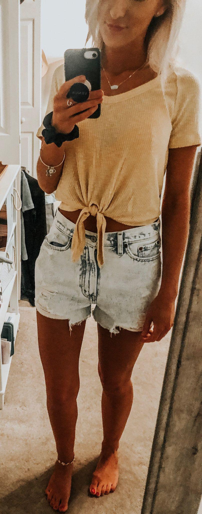 grey short shorts #summer #outfits