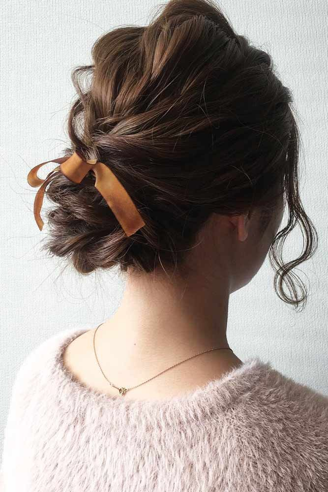 Stunning Medium Hair Updo With Ribbon #hairribbon #updohairstyles ★ Cute and easy shoulder length hairstyles for thin and for thick hair can be found here. These styles can work for adult women and for teens. #glaminati #lifestyle #shoulderlengthhairstyles
