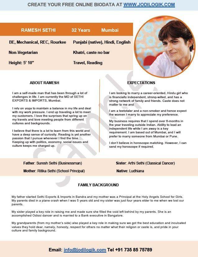 marriage resume format - English Resume Format