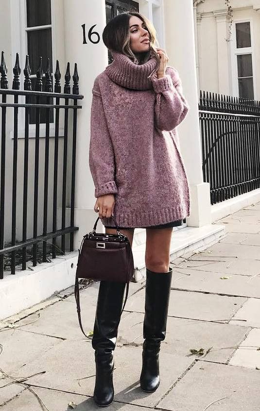 how to style a sweater dress : bag and over knee boots