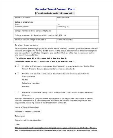 Parental Consent To Travel Form sample travel consent form - travel consent form sample