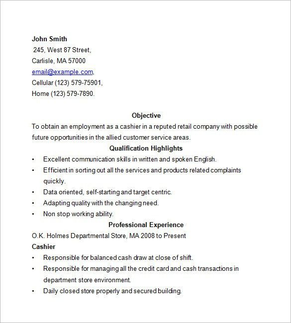 Resume Objectives For Cashier Resume Sample Examples Of Resumes