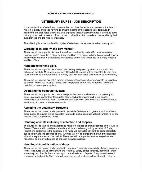 Nursing House Supervisor Job Description Nurse Supervisor Job - veterinarian job description