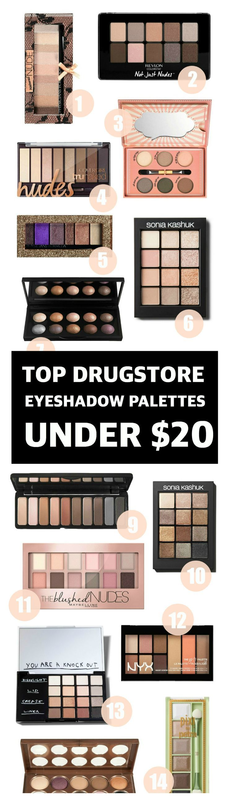 A complete guide of the best drugstore eyeshadow palettes under $20! Perfect for…