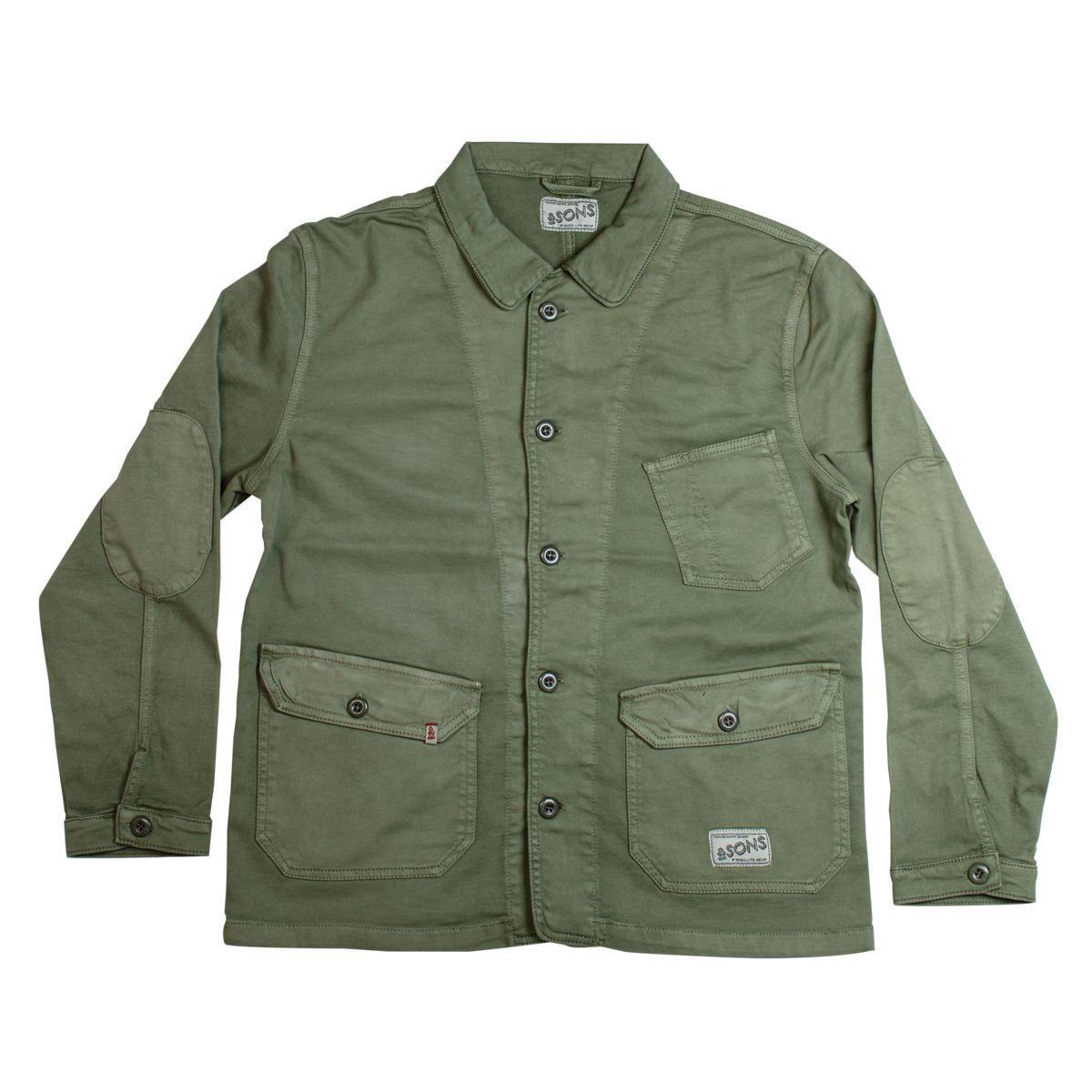 &SONS Carver Jacket   Versatile Heavy Cotton Army Green Jacket