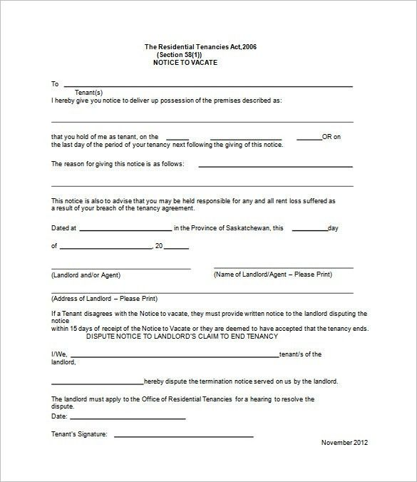 Eviction Forms Free eviction notice form - 30 day notice to - notice to vacate template