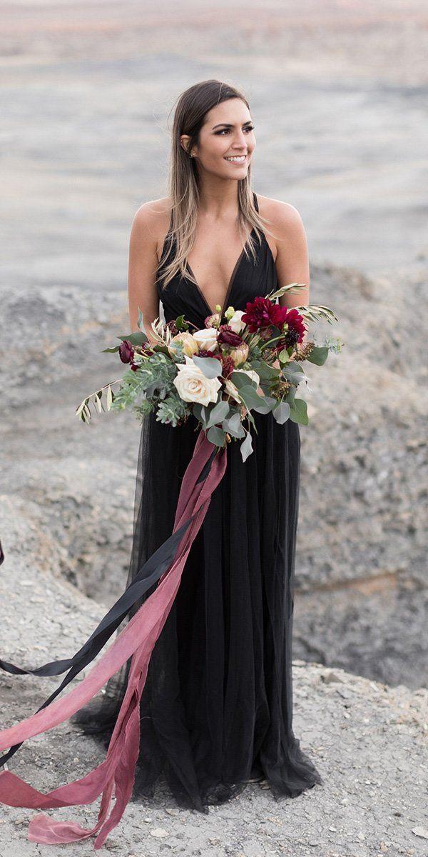 21 Black Wedding Dresses With Edgy Elegance ❤ black wedding dresses a line simple with spaghetti straps tylerrye #weddingforward #wedding #bride