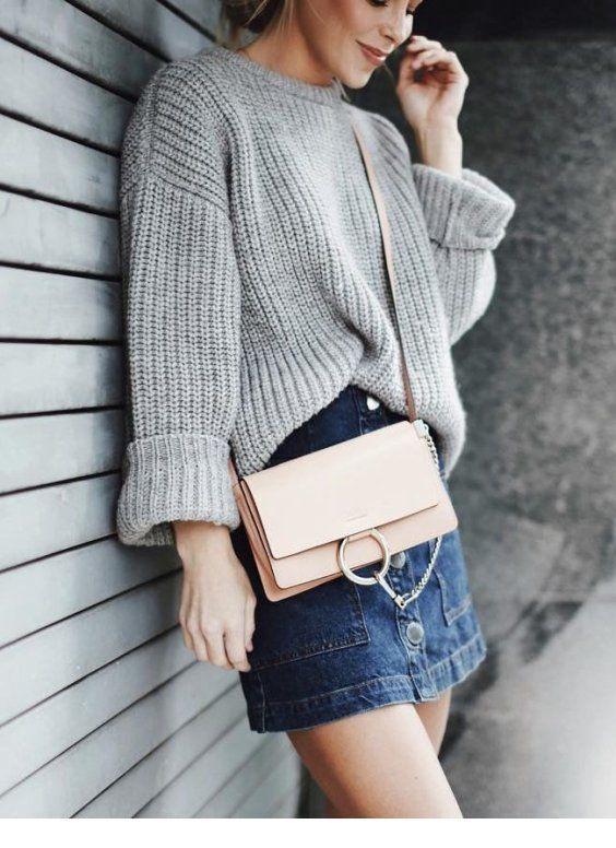 Oversize sweater and mini denim skirt