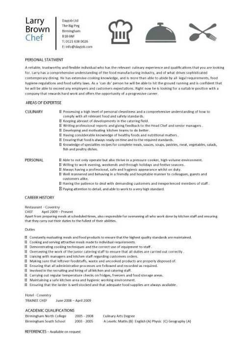 Cook Resume Objective Examples Sample Chef Resume Chefs Resume