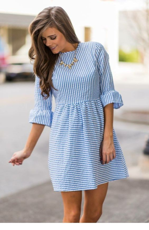 Nice blue summer dress with a necklace