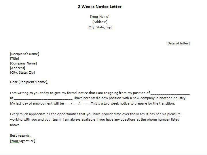 Two Week Notice Template Word Two Weeks Notice Letter 31 Free - 2 week notice letters