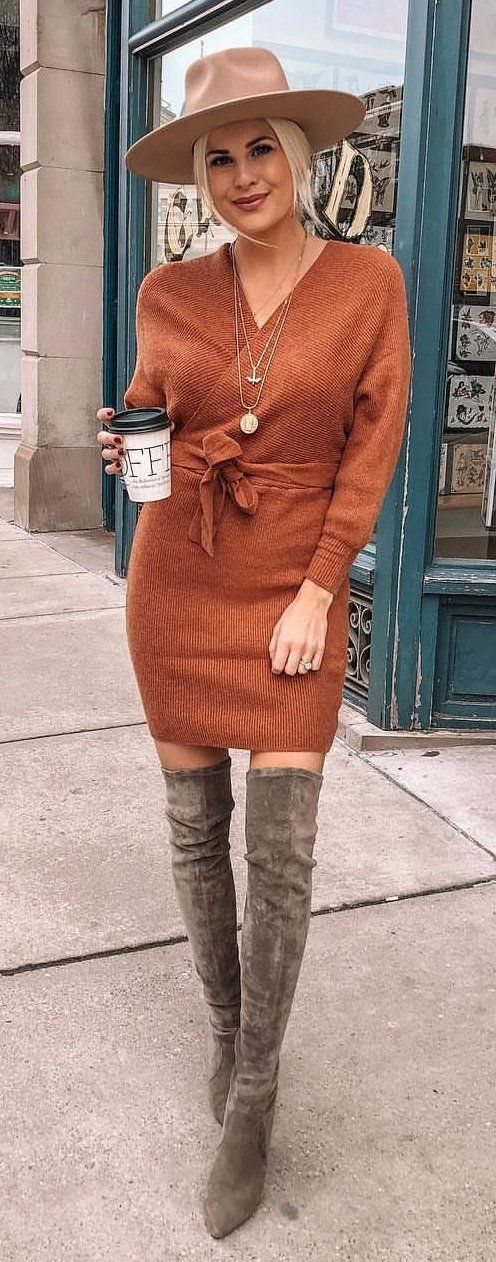 brown v-neck long sleeved shirt #spring #outfits