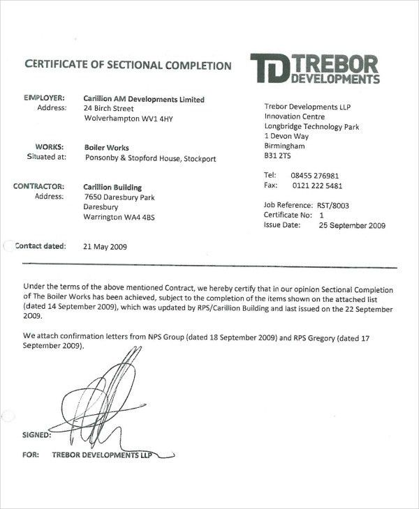 Building Completion Certificate Sample Building Completion - certificate of construction completion