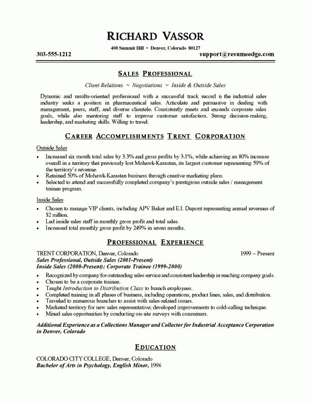Sample Resume For Sales Job Careerperfect Sales Management Sample - resume sales examples