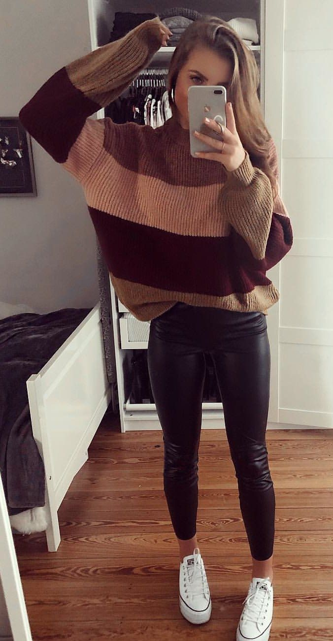 brown and beige knit sweater