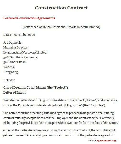 Sample Construction Contract Template Construction Contract - free sample construction contract