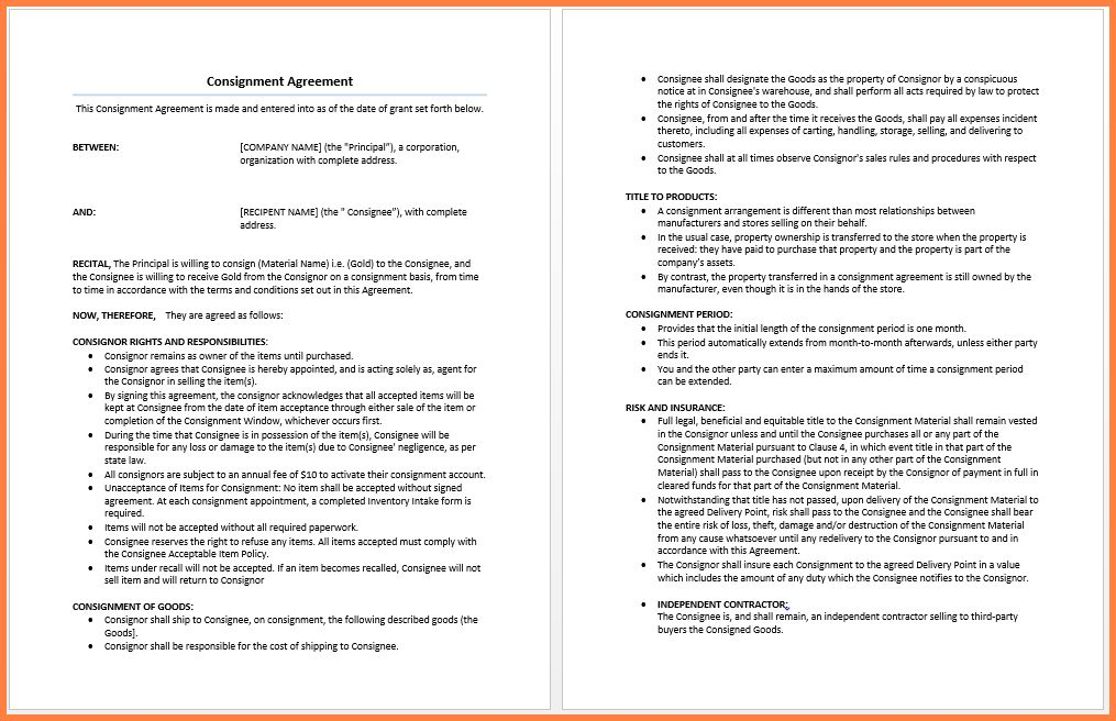 100+ Consignment Store Contract Template Doc 585722 Free - consignment agreement template