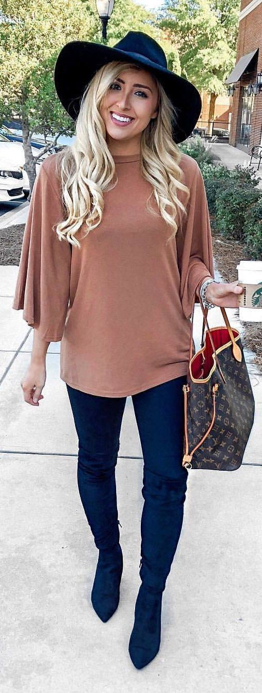 brown trumpet-sleeved shirt