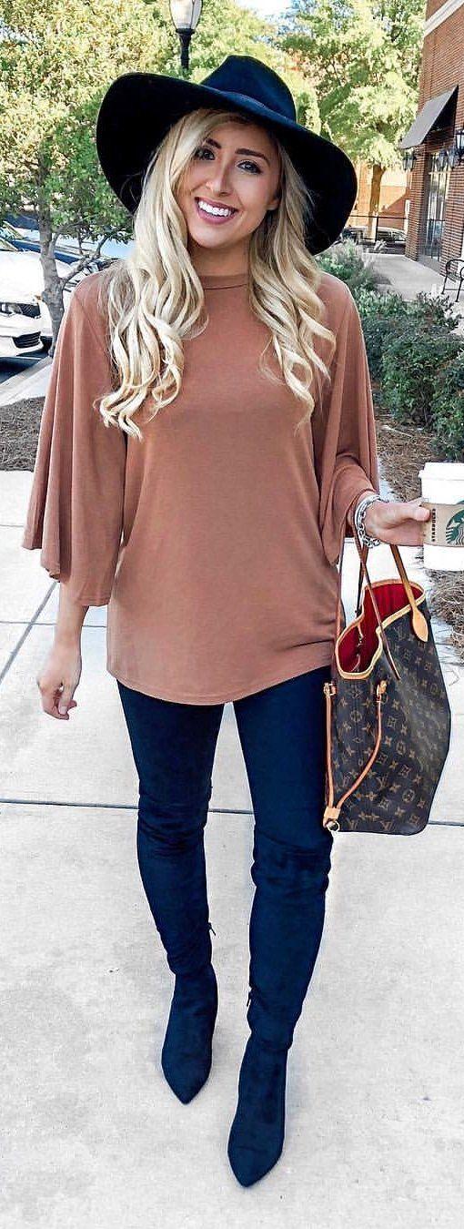 brown trumpet-sleeved shirt