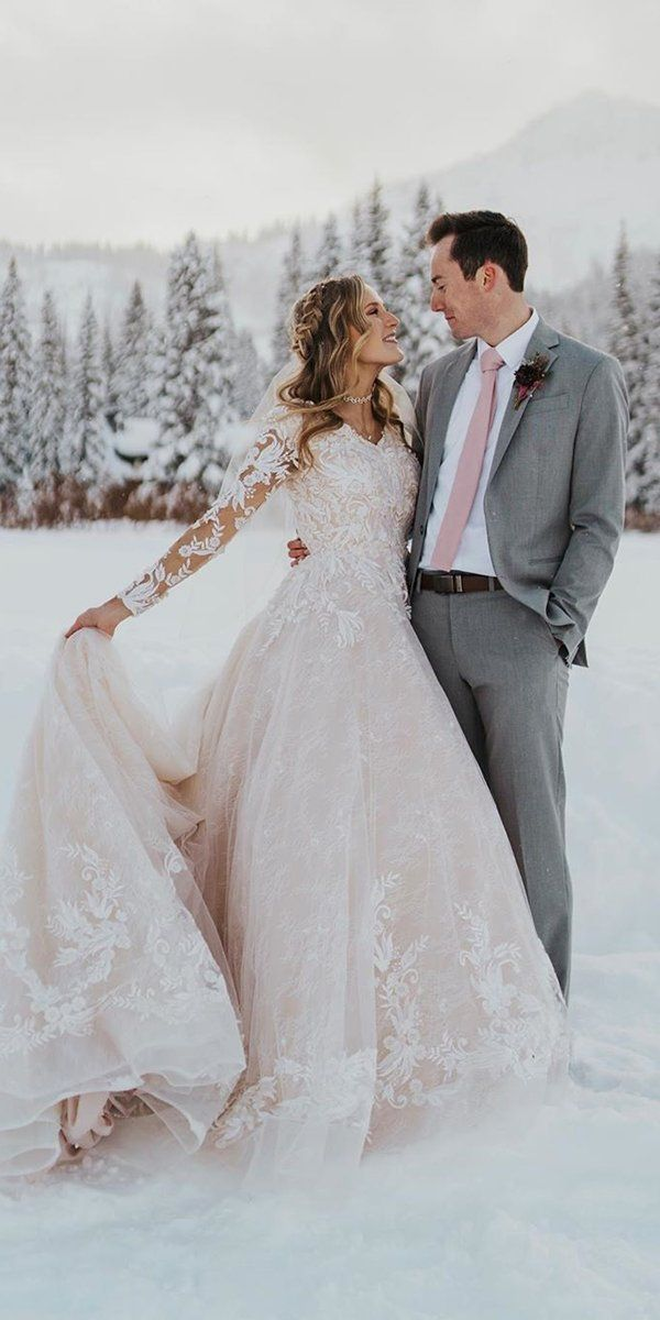 24 Winter Wedding Dresses & Outfits ❤ winter wedding dresses outfits a line with long sleeves blush lace emilybphotofilm #weddingforward #wedding #bride